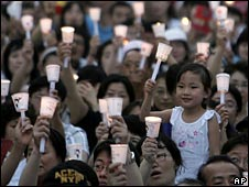 Candlelit protest against US beef imports in Seoul, South Korea, on Saturday