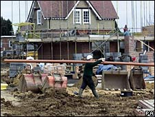 New houses under construction in the UK