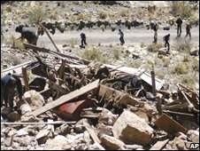 Aftermath of a truck crash in Bolivia