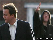 gestures at David Cameron in 2007