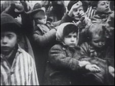 Jewish people imprisoned at a concentration camp