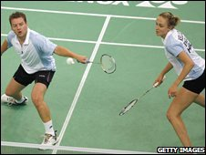 England's mixed doubles pair Anthony Clark and Donna Kellogg