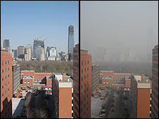 Two views on clear and smoggy day