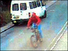 CCTV footage of Jason Howard on his bike before the collision