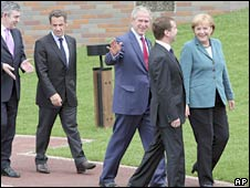From left to right: UK Prime Minister Gordon Brown, French President Nicolas Sarkozy, US President George W Bush, Russian President Dmitry Medvedev and German Chancellor Angela Merkel at the G8 summit