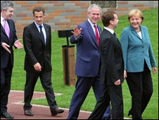 From left: UK Prime Minister Gordon Brown, French President Nicolas Sarkozy, US President George W Bush, Russian President Dmitry Medvedev, German Chancellor Angela Merkel