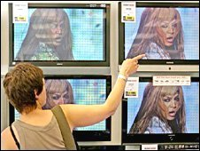 Television screens in a shop window