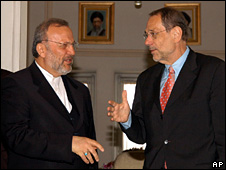 Manouchehr Mottaki and Javier Solana (14 June 2008)