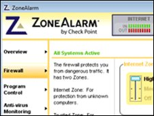Screengrab of ZoneAlarm, CheckPoint