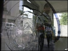 A policeman stands inside a guard post in the US consulate in Istanbul, Turkey