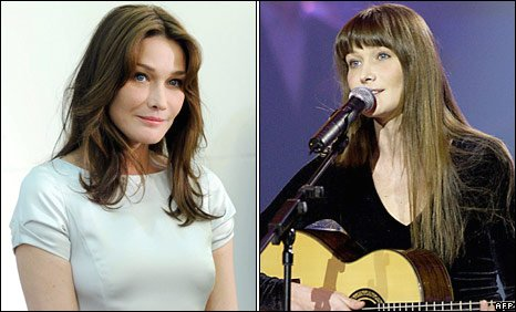Carla Bruni now (left) and performing in 2004