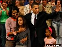 Сенатор Обама с семьей