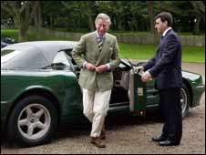 Prince Charles with his Aston Martin car