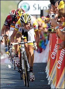 Riccardo Ricco, Alejandro Valverde and Cadel Evans