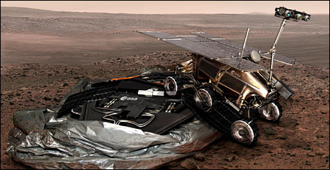 Artist's concept of ExoMars rover and lander (Esa)
