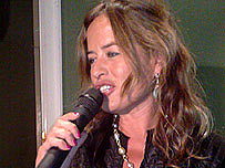 Jade Jagger on microphone