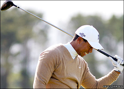 Tiger Woods shows his anger after another errant drive