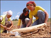 Arque�logas trabajan sobre colmillo de mamut
