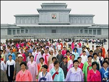 North Koreans pay their respects to late Great Leader Kim Il Sung on the anniversary of his death last Tuesday, in Pyongyang