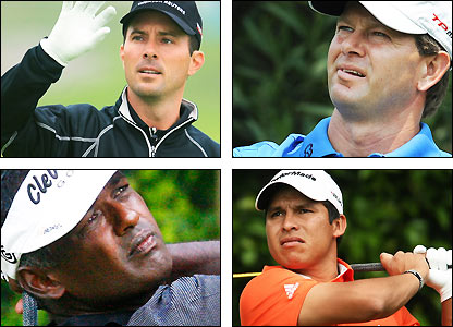 Clockwise from top left: Mike Weir, Retief Goosen, Andres Romero, Vijay Singh