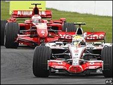 Lewis Hamilton's McLaren leading Kimi Raikkonen's Ferrari at the French Grand Prix