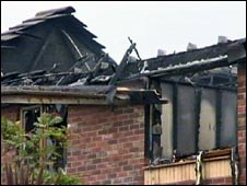The roof of the house after the fire