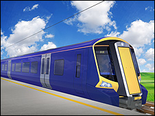 Artist's impression of the new electric train (pic from Transport Scotland)