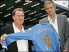 Pompey manager Harry Redknapp (left) and new signing Peter Crouch