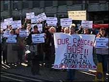 Cancer protest in Truro