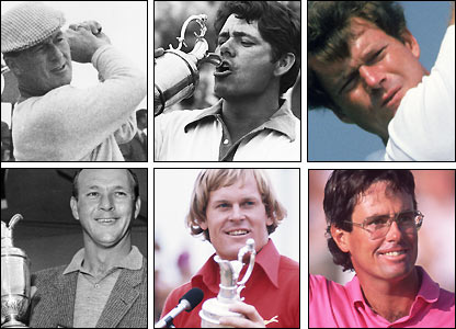 Clockwise from top left: Peter Thomson, Lee Trevino, Tom Watson, Ian Baker-Finch, Johnny Miller, Arnold Palmer