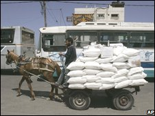 Donkey cart with UN food aid