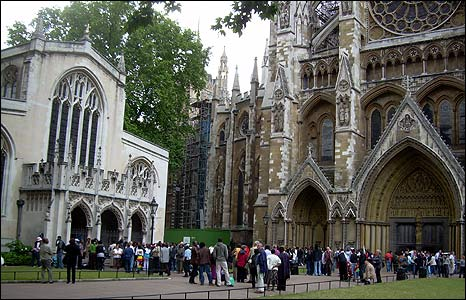 Zimbabweans gather at St Margaret's church, Westminster