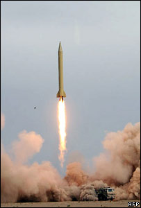 An Iranian missile being test fired