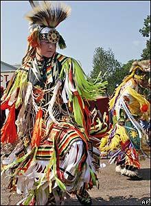 Native American dancers take part in The Longest Walk 2, in Washington
