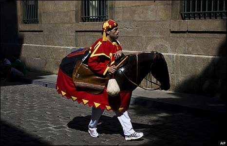 A character from the Gigantes y Kilikis parade during the San Fermin fiestas in Pamplona, northern Spain
