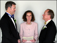 Mark Andrew (left) and Bishop Gene Robinson are shown during their private civil union ceremony in June 2008