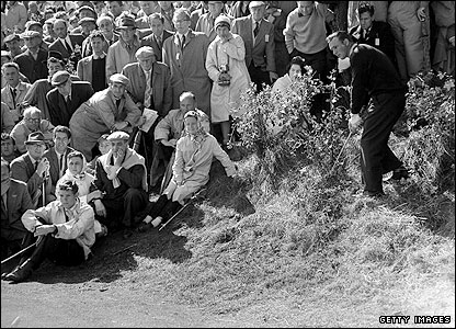 Arnold Palmer has a plaque at Royal Birkdale after his famous six iron from behind a bush on the 16th hole during the third round