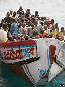 African migrants in fishing boat