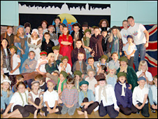 The cast of Oliver! at Old Field Primary School, Barry,