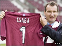 Csaba Laszlo flies Hearts' colours