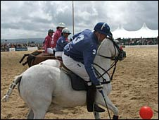 Beach polo at Sandbanks - Jamie Le Hardy in the foreground