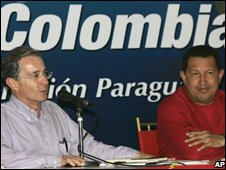 Alvaro Uribe and Hugo Chavez, 11 July 2008