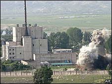 Cooling tower at Yongbyon plant destroyed 27 June