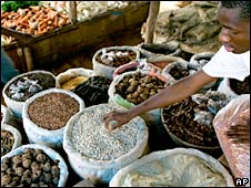 Market stall selling food in Senegal