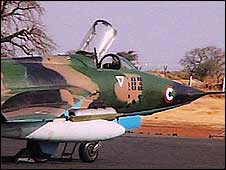 Chinese-built A5 Fantan fighter jets in Nyala, Sudan in 2007