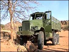 Chinese-built Dong Feng truck filmed by BBC Panorama inside Darfur in April 2008