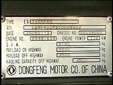 Plate on Chinese-built Dong Feng trucks filmed in Darfur in April 2008