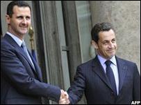 Bashar Assad y Nicolas Sarkozy