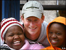Prince Harry with children from the Lesotho Child Counselling Unit in Maseru, Lesotho, Africa