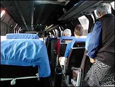 The Mitrovica bus, seen from the back seat